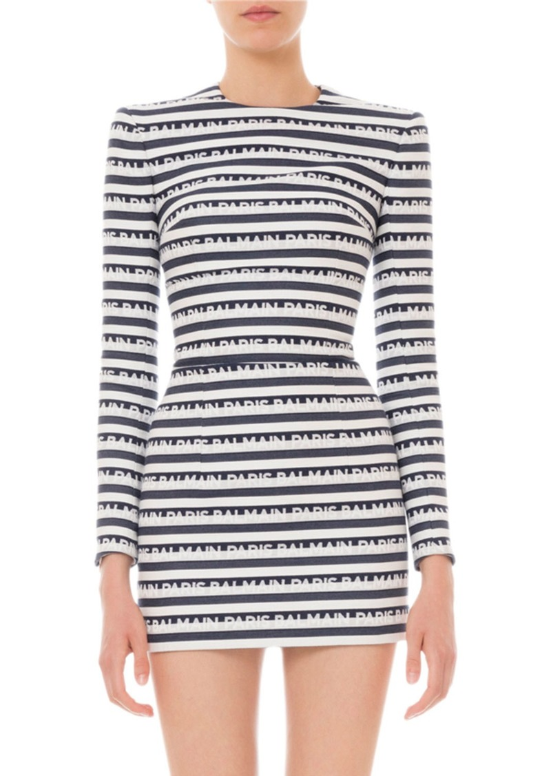 Balmain Long-Sleeve Logo-Striped Mini Dress