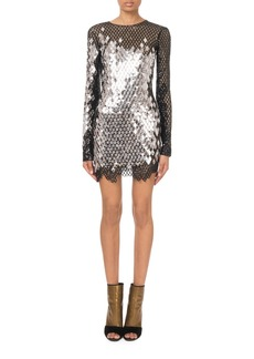 Balmain Long-Sleeve Mirrored-Sequin Mesh Mini Dress