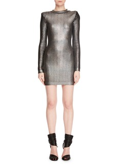 Balmain Long-Sleeve Mock-Neck Lacquered Vertical-Stripe Mini Cocktail Dress