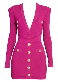 Balmain Long-Sleeve Plunge Bodycon Dress