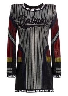 Balmain Long-Sleeve Strass Athletic Shift Dress