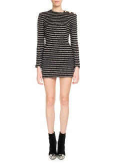 Balmain Long-Sleeve Striped Tweed 3-Button Shoulder Mini Dress