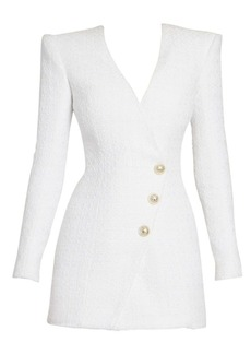 Balmain Long-Sleeve Tweed Wrap Mini Dress