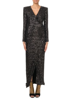 Balmain Long-Sleeve V-Neck Sequined Gown