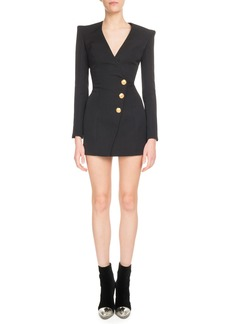 Balmain Long-Sleeve V-Neck Three-Button Side-Waist Cocktail Dress