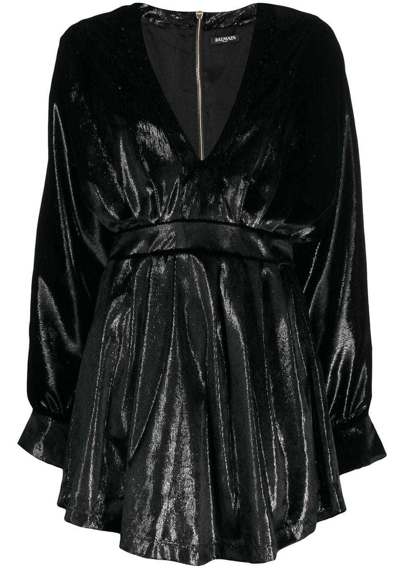 Balmain long-sleeve velvety dress