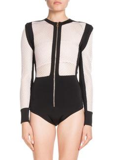 Balmain Long-Sleeve Zip-Front Bicolor Mesh Bodysuit