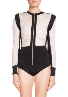 Balmain Long-Sleeve Zip-Front Bicolor Mesh Bodysuit