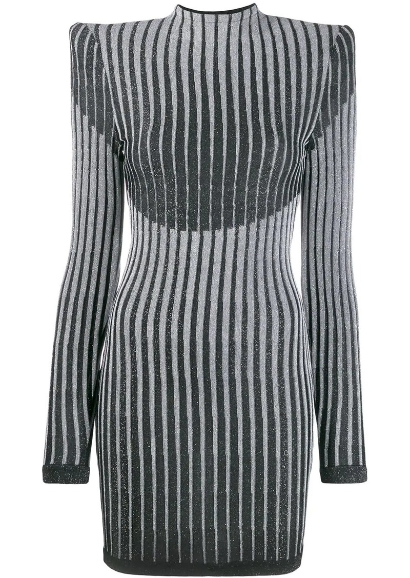 Balmain lurex knit fitted dress