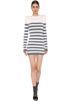 Balmain Lurex Striped Viscose Knit Dress