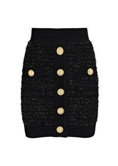 Balmain Lurex Knit Tweed Mini Skirt