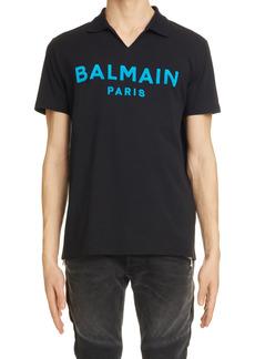 Men's Balmain Flock Logo Polo