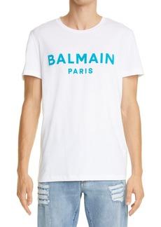 Men's Balmain Flocked Logo Graphic Tee