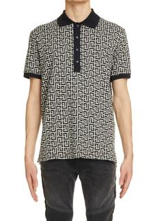 Men's Balmain Monogram Jersey Polo Shirt
