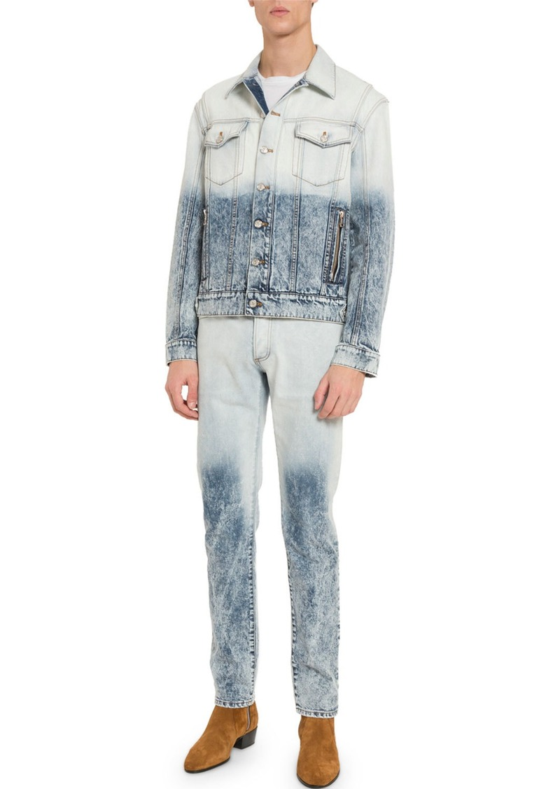 Balmain Men's Distressed Acid-Wash Denim Jacket
