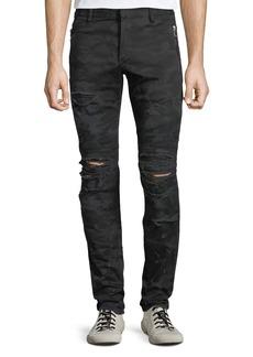 Balmain Men's Distressed Camo Straight-Leg Biker Jeans