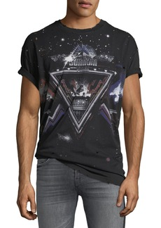 Balmain Men's Distressed Galaxy T-Shirt