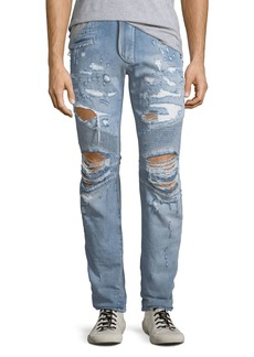 Balmain Men's Distressed Straight-Leg Biker Jeans