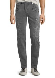 Balmain Men's Gray-Wash Distressed Skinny Jeans