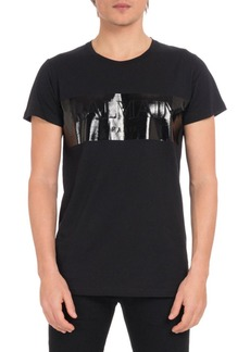 Balmain Men's Laminated Logo Crewneck Short-Sleeve Cotton T-Shirt
