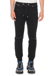 Balmain Men's Slim Denim Jersey Sweatpants