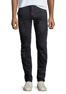 Balmain Men's Velvet Straight-Leg Biker Jeans