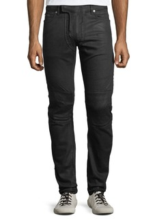 Balmain Men's Waxed Stretch-Denim Jeans