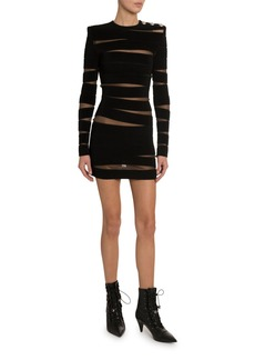 Balmain Mesh Paneled Sheer-Back Dress