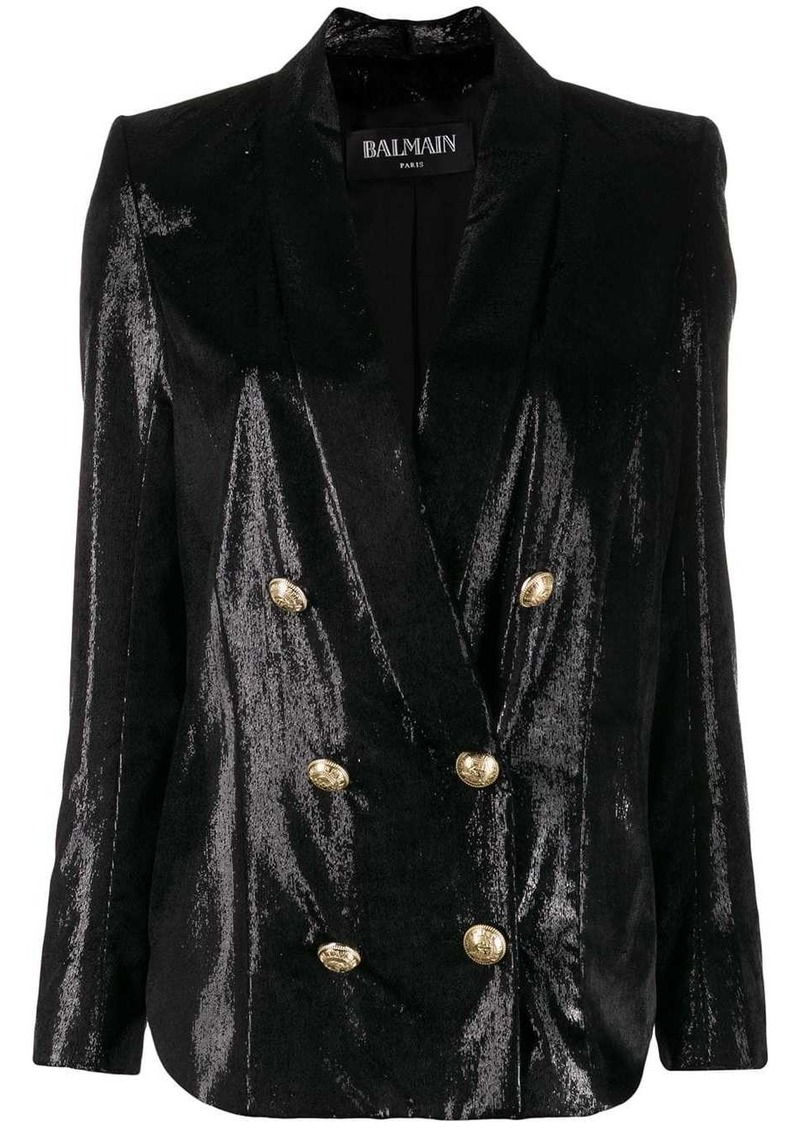Balmain metallic double-breasted blazer