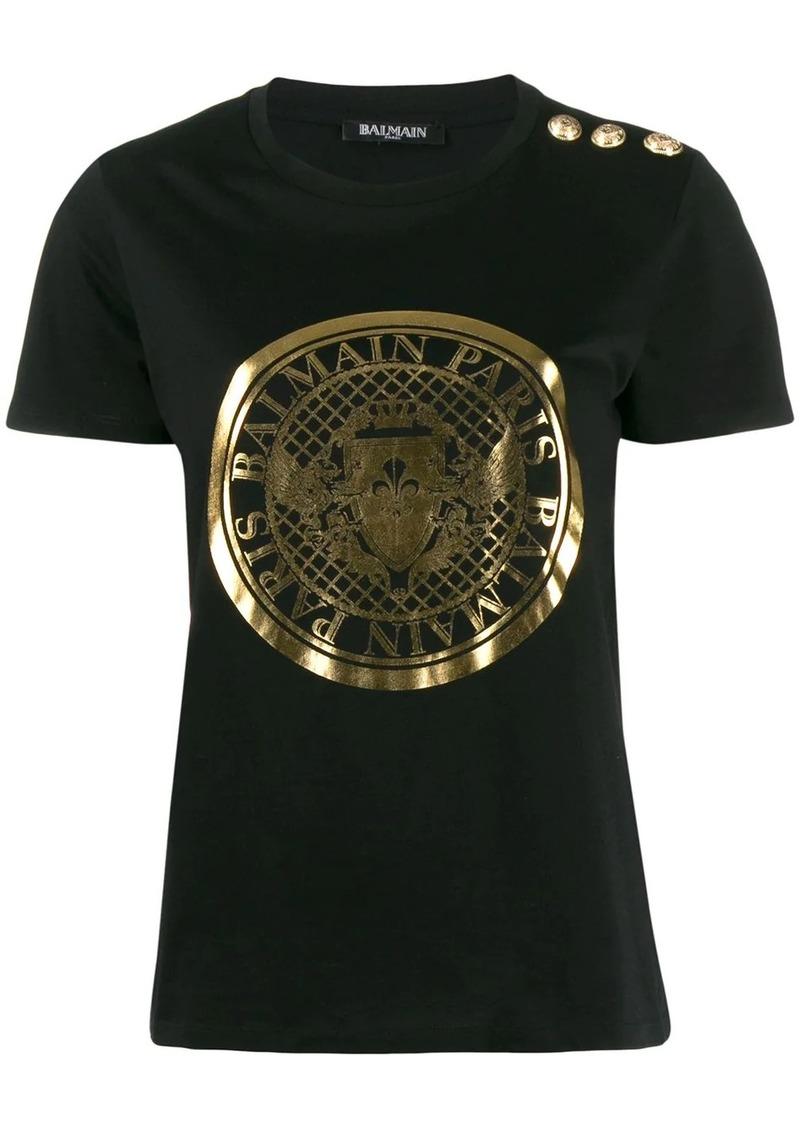 Balmain metallic emblem logo T-shirt