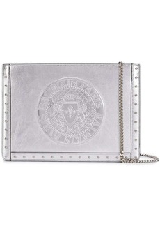 Balmain metallic embossed logo clutch