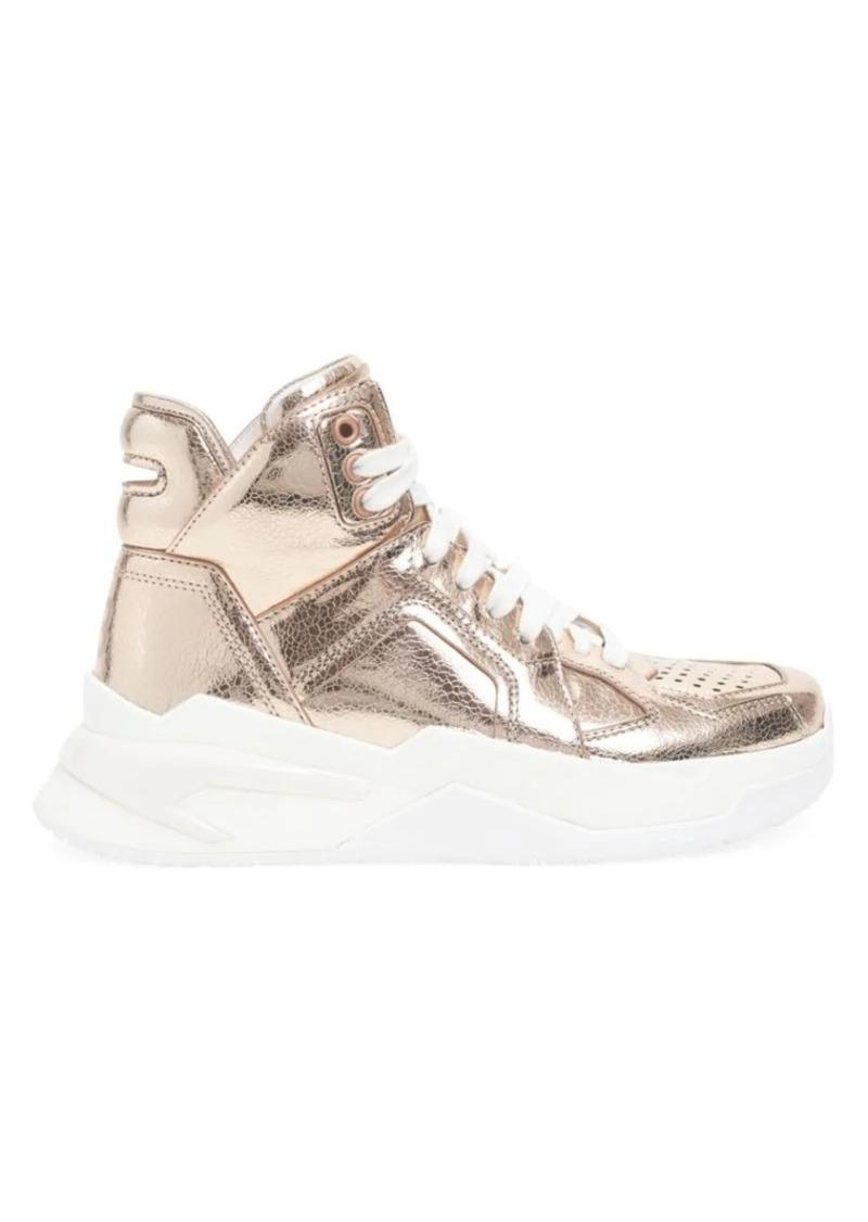 Balmain Metallic Leather High-Top Sneakers