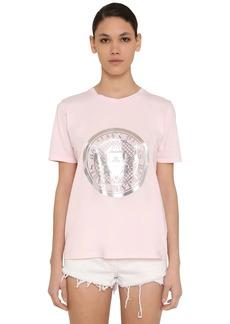 Balmain Metallic Logo Coin Print Jersey T-shirt