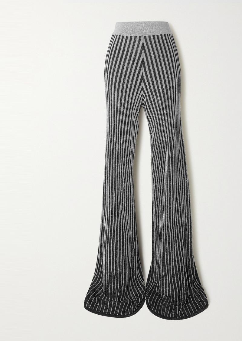 Balmain Metallic Ribbed-knit Flared Pants