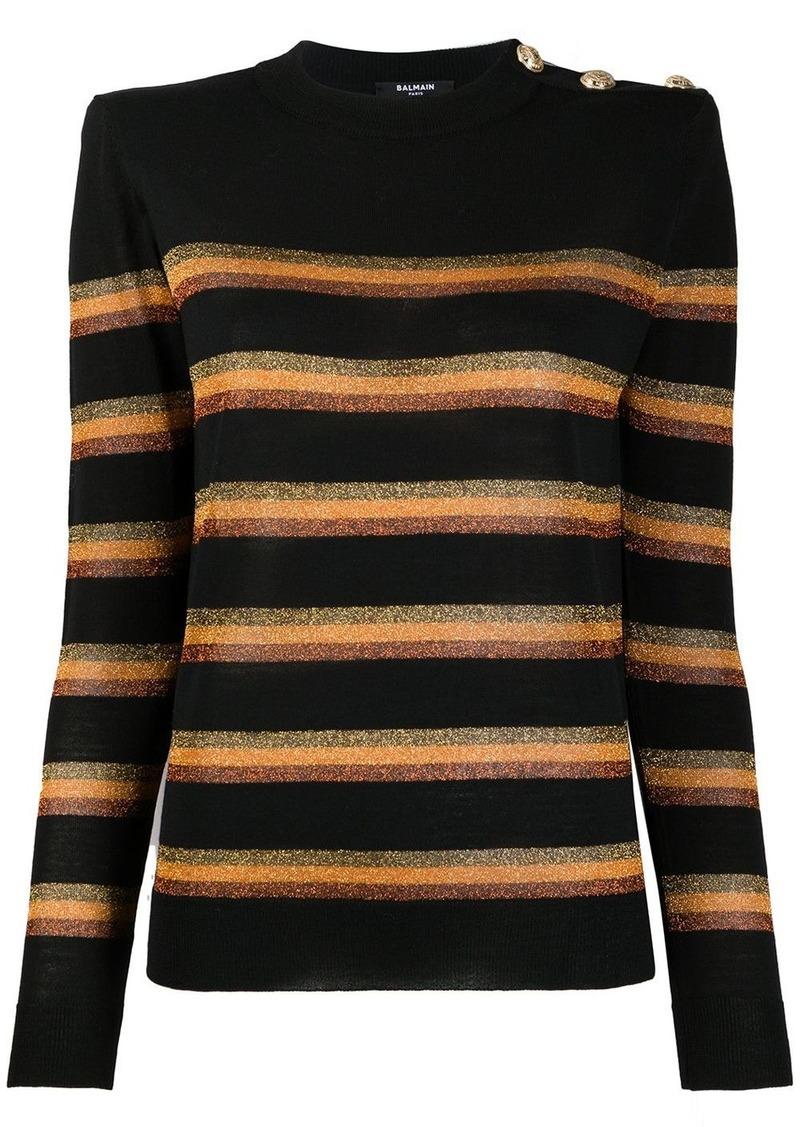 Balmain metallic striped jumper