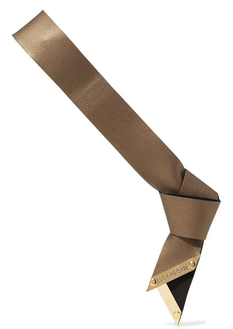 Balmain Metallic Textured-leather Headband