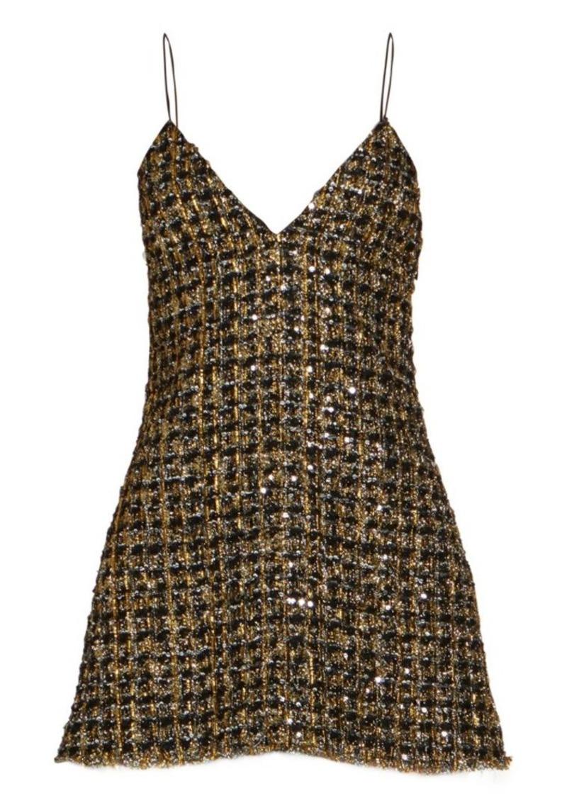 Balmain Metallic Tweed Spaghetti Strap Dress