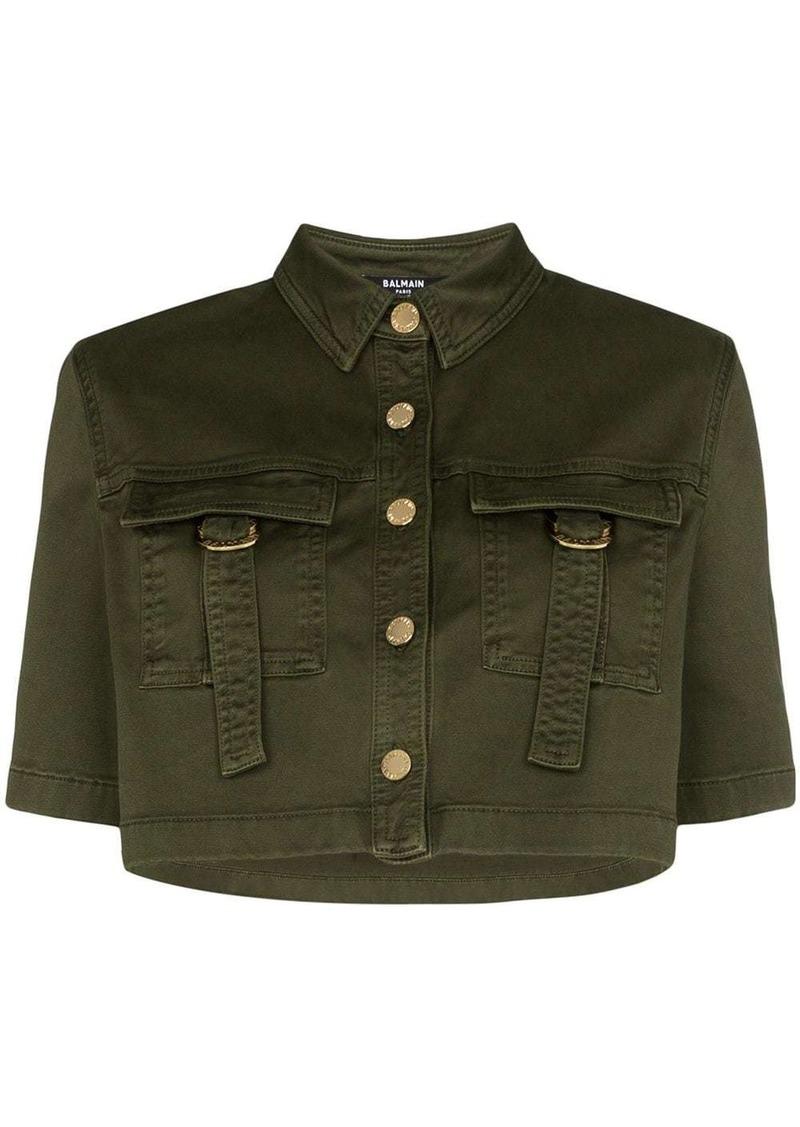 Balmain military-look cropped shirt