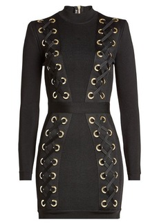 Balmain Mini Dress with Lace-Up Detail