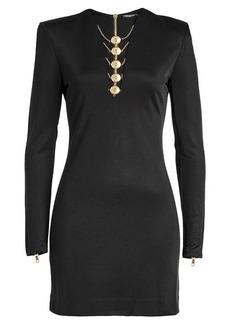 Balmain Mini Dress with Zipped Cuffs