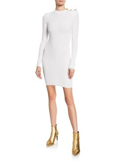 Balmain Mock-Neck Crochet Ribbed-Knit Button-Shoulder Mini Dress