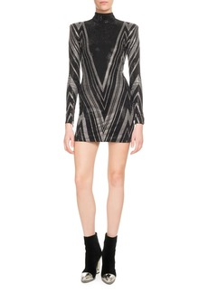 Balmain Mock-Neck Long-Sleeve Chevron-Studded Mini Cocktail Dress