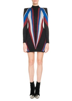 Balmain Mock-Neck Long-Sleeve Multicolor Flash-Knit Cocktail Dress