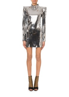 Balmain Mock-Neck Long-Sleeve Square-Mirror Cocktail Dress