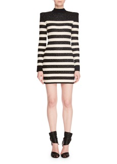 Balmain Mock-Neck Long-Sleeve Striped Sequin Mini Cocktail Dress