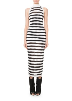 Balmain Mock-Neck Sheer Striped Maxi Dress