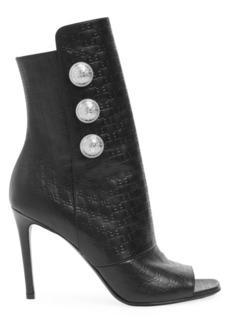 Balmain Monogram-Embossed Leather Peep-Toe Ankle Boots