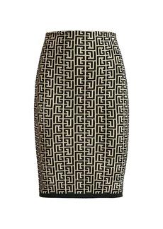 Balmain Monogram Jacquard Bodycon Skirt