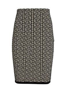 Balmain Monogram Jacquard Midi Skirt