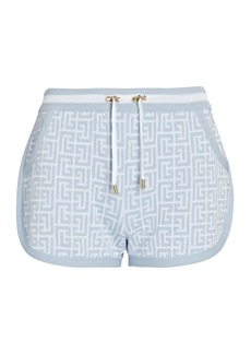 Balmain Monogram Knit Jacquard Running Shorts